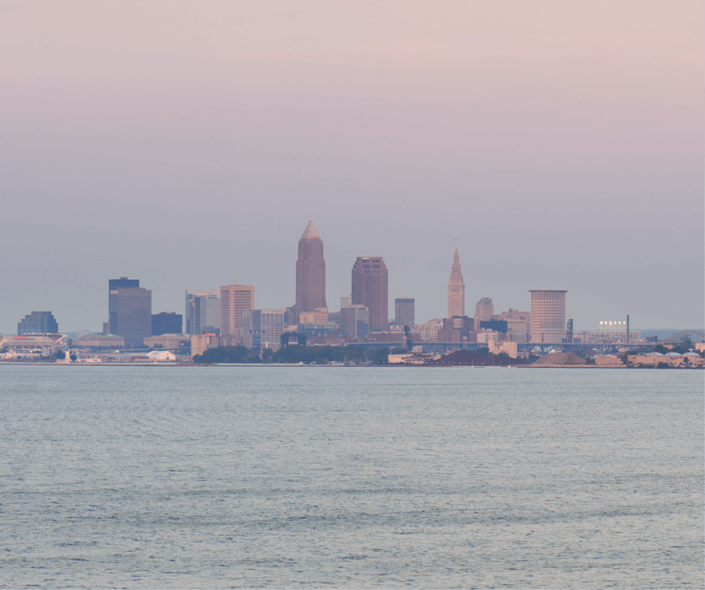 The view of downtown Cleveland, Ohio from Pier W Restaurant and Lounge in Cleveland, Ohio