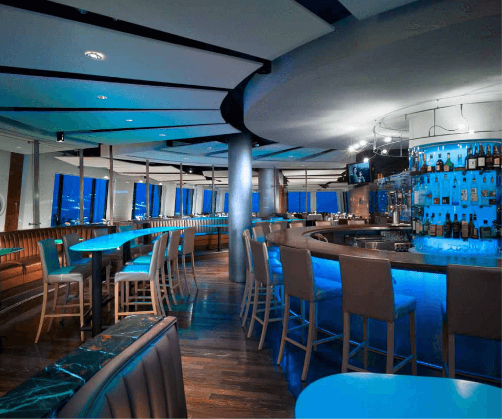 The award-winning lounge at Pier W Restaurant and Lounge in Cleveland, Ohio