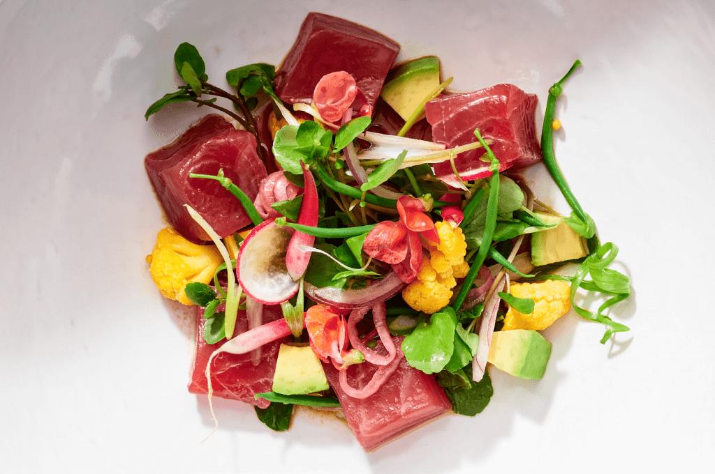 A beautiful tuna dish on display at Pier W