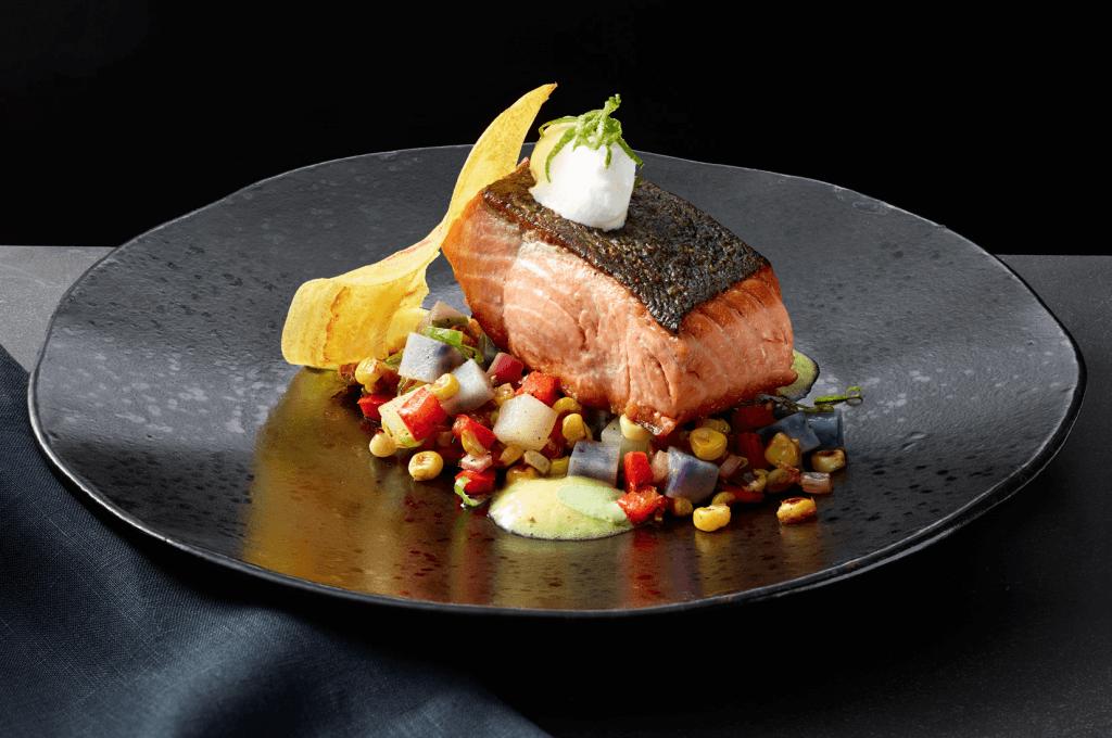 A beautiful salmon dish on display at Pier W