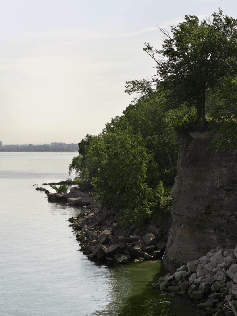 A view of the cliffs over Lake Erie from Pier W Restaurant and Lounge