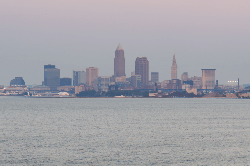The downtown view of Cleveland, Ohio from Pier W Restaurant and Lounge